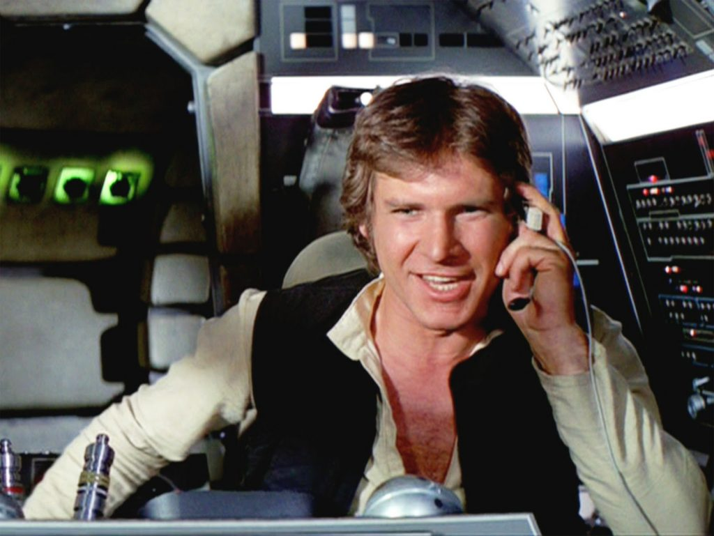 Han Solo atones for leaving before the final battle and helps save the day in Star Wars.