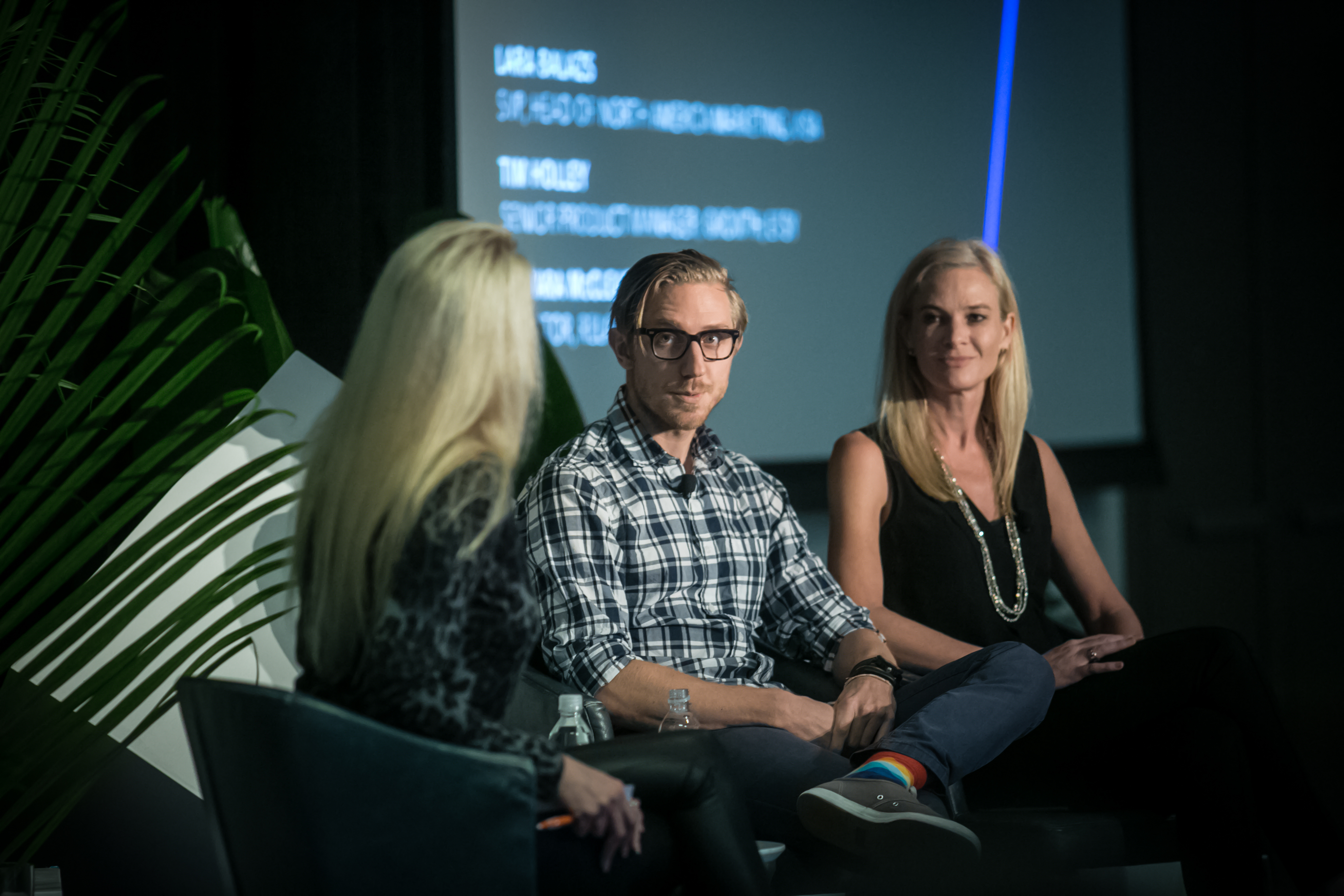 Tamara McCleary leads a panel discussion with Lara Hood Balazs of Visa and Tim Holley of Etsy at Appboy's LTR Conference
